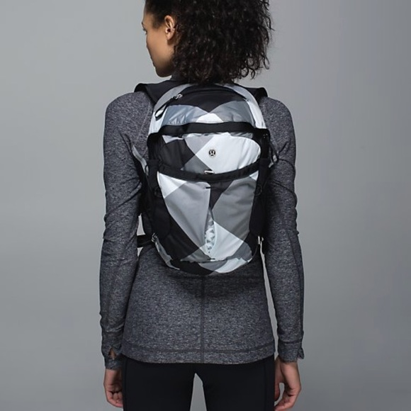 d009c3255f lululemon athletica Handbags - Lululemon Run All Day Backpack Black White  Check